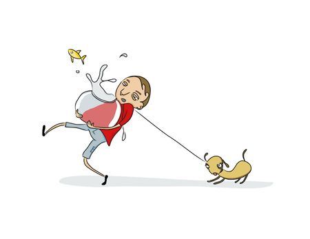 Vector Illustration of Funny young fellow taking care of his pets illustration