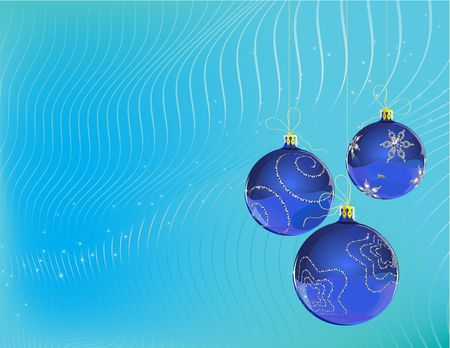 Vector Illustration of three blue Christmas Balls decorated with snowflake on blue Background illustration