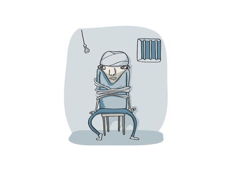 hostage: Vector Illustration of Young guy roped on to the chair in a cold dark place Stock Photo