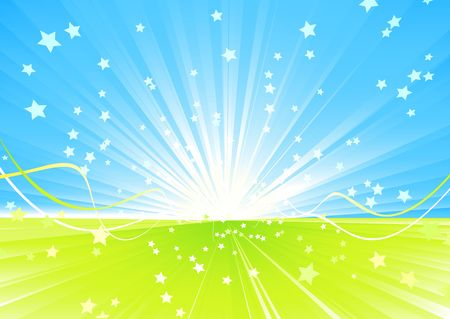 Vector illustration of Shining burst of stars and ribbons on abstract summer background. illustration
