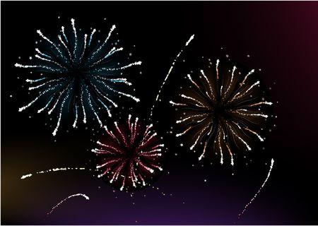 Vector  illustration of different fireworks lighting up the sky in black background.  Great for celebration and festive works. illustration