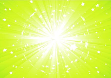 Vector illustration of Green Abstract background with light rays and burst of stars illustration