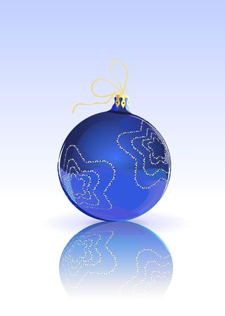 Vector Illustration of blue Christmas Ball decorated with  on blue Background with reflection illustration