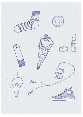 Set of funky hand-drawn elements of modern urban life. Vector illustration illustration