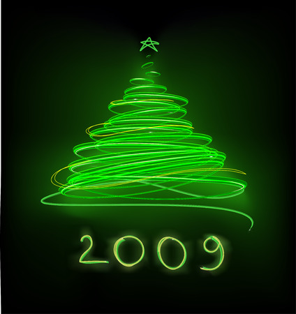 Abstract Christmas tree on the green background. Vector illustration. Illustration
