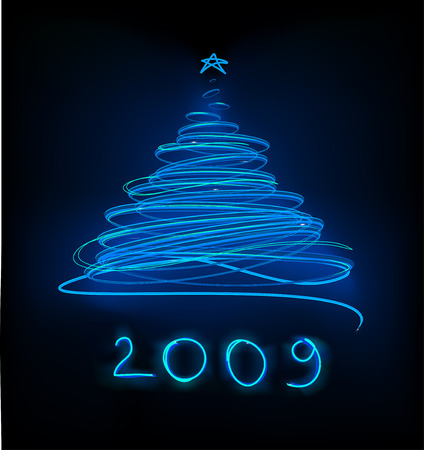 Abstract Blue Neon Christmas tree on the black background.  Vector illustration.
