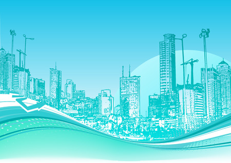 Vector illustration of Big City. Blue urban background with abstract composition of dots and curved lines. Vector