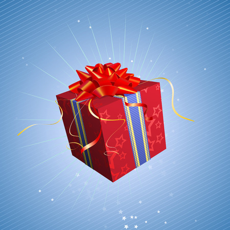 Vector illustration of red square present box with a bow and ribbons on starry blue background Vector