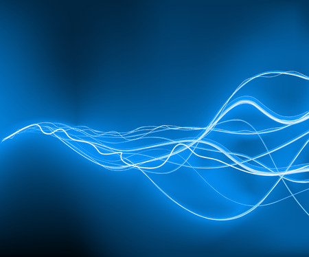 A vector illustrated   futuristic background resembling blue motion blurred neon light curves