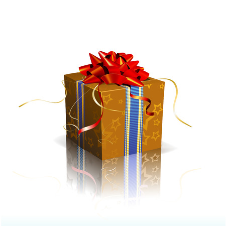Vector illustration of red square present box with a bow and ribbons on shiny reflective surface Vector