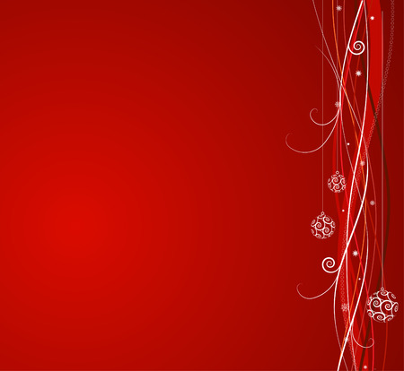 christmas backgrounds: Red Christmas background: composition of curved lines and snowflakes - great for backgrounds, or layering over other images Illustration