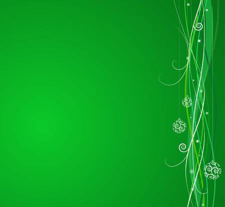 Green Christmas background: composition of curved lines and snowflakes - great for backgrounds, or layering over other images Vector