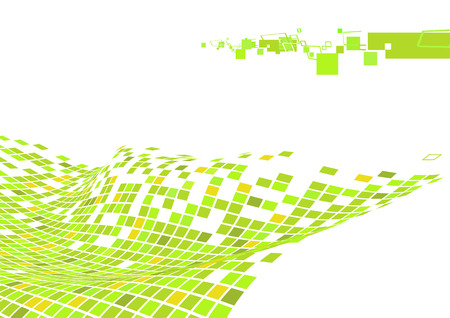 Vector illustration of organic wave surface made of green squares  Vector