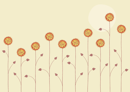 Vector illustration of   the sun is going down over the summer flowers on yellow background Vector
