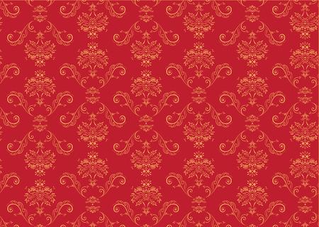 Vector illustration of red elegant Victorian retro motif wallpaper Pattern