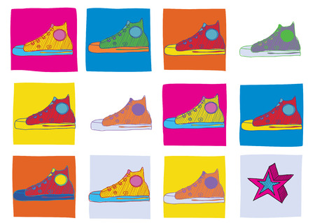 Pattern made of cool hand-drawn sport shoes in different colors. Vector illustration