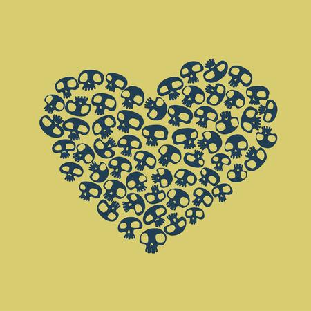 Heart shape made of small funny skulls. Vector illustration Vector
