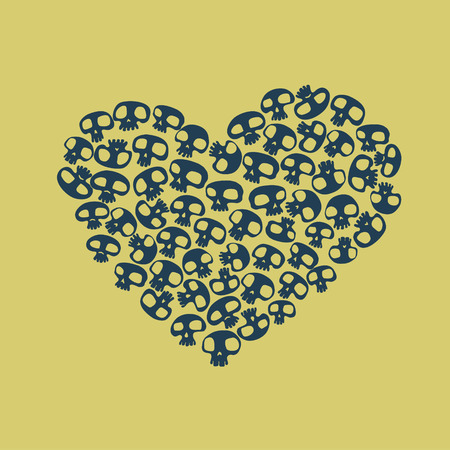 Heart shape made of small funny skulls. Vector illustration Vector