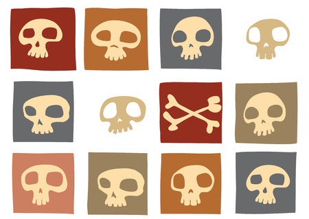 cr�nes: Plan de dr�les de cr�nes et d'ossements dans des couleurs diff�rentes. Vector illustration Illustration