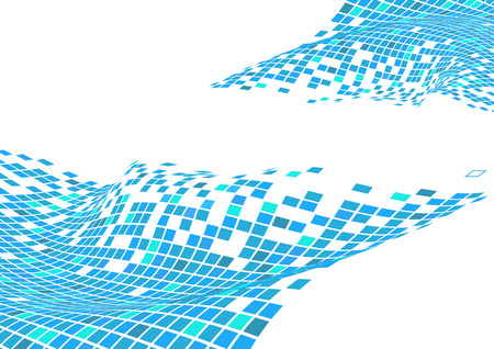 Vector illustration of organic wave surface made of blue squares  Vector
