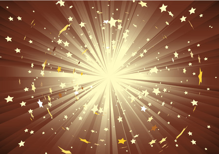 Vector illustration of brown background with light rays and burst of stars Vector
