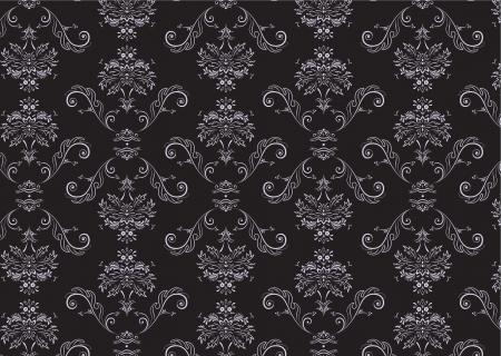 victorian textile: Vector illustration of elegant Victorian retro motif wallpaper Pattern Illustration