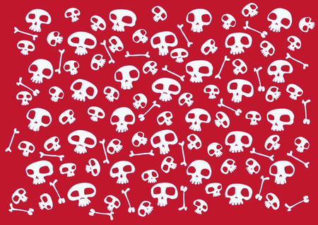 Pattern made of funny skulls and bones on bright red background. Vector illustration Vector