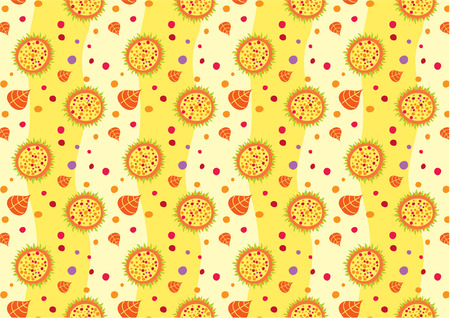 Vector illustration of retro abstract flowers Background. Glossy floral pattern. Vector
