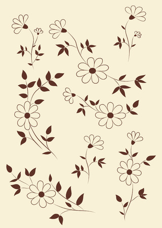 vector ornaments: Set of funky hand-drawn flowers