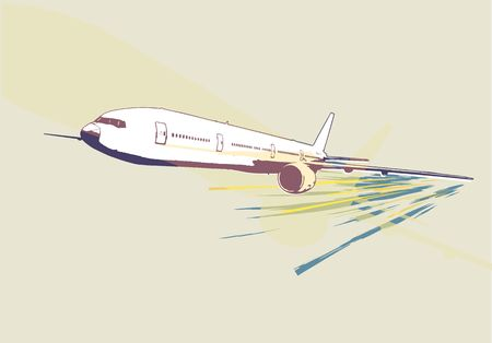 A vector illustration of a detailed airplane flying above the land.  Grunge stale  illustration