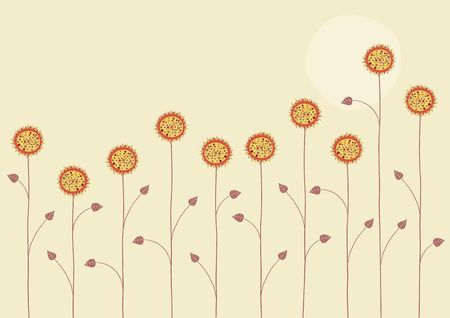 Vector illustration of   the sun is going down over the summer flowers on yellow background illustration