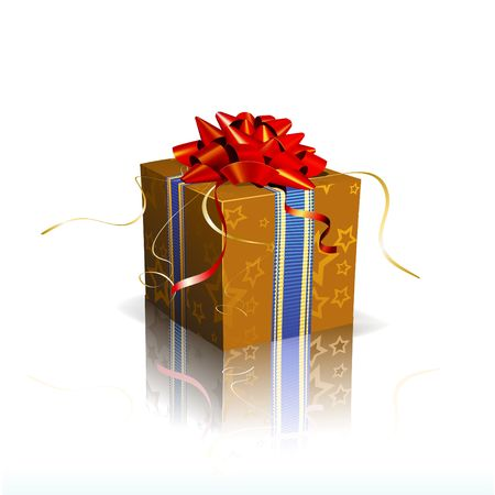 Vector illustration of red square present box with a bow and ribbons on shiny reflective surface illustration