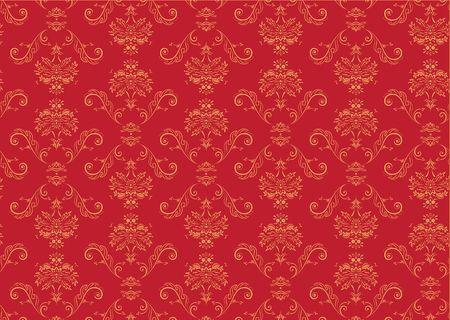 Vector illustration of red elegant Victorian retro motif wallpaper Pattern Stock Illustration - 3698502