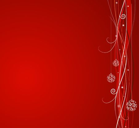 Red Christmas background: composition of curved lines and snowflakes - great for backgrounds, or layering over other images photo