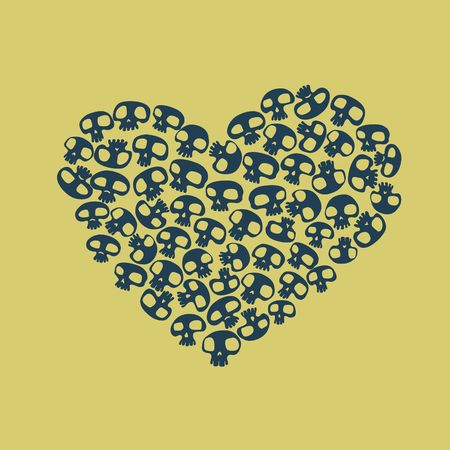 Heart shape made of small funny skulls. Vector illustration illustration