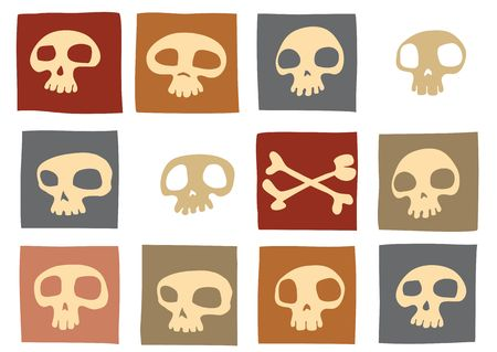 Pattern made of funny skulls and bones in different colors. Vector illustration illustration