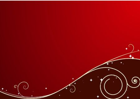 stylization: Red  Christmas background: composition of curved lines and snowflakes - great for backgrounds, or layering over other images