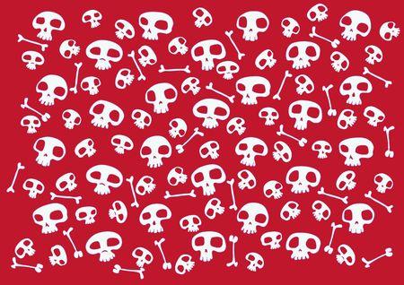 Pattern made of funny skulls and bones on bright red background. Vector illustration Stock Illustration - 3699233
