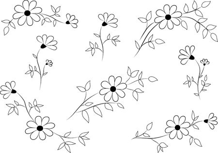 Set of funky hand-drawn flowers  photo