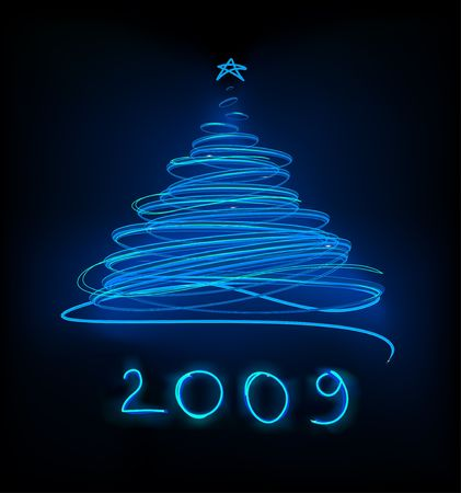 Abstract Blue Neon Christmas tree on the black background.  Vector illustration. illustration