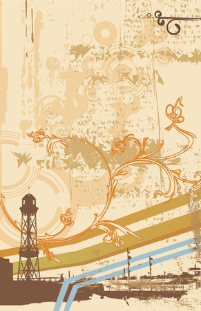 Urban abstract background with floral swirly ornament, made in grunge style. Vector illustration Illustration