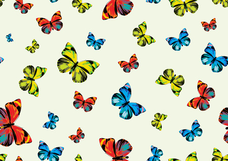 Vector illustration of many funky butterflies of different colors flying around. Seamless Pattern. Vector