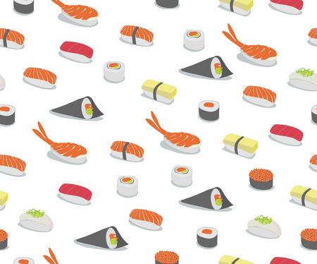 sushi: Vector achtergrond illustratie van de verschillende soorten sushi in iconische stijl. Retro Seamless Pattern.