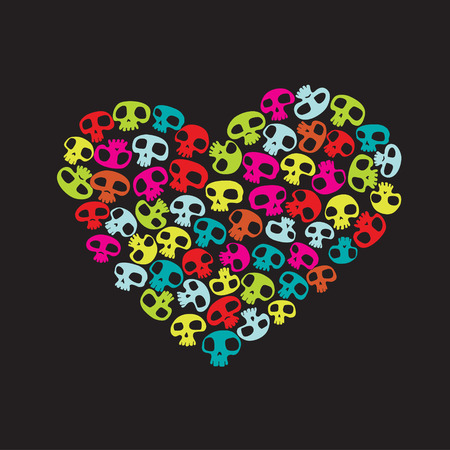 Heart shape made of small colorful funny skulls on black background. Vector illustration