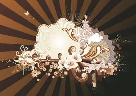 Vector illustration of urban retro styled background made of floral and ornamental elements. Stock Vector - 3832807