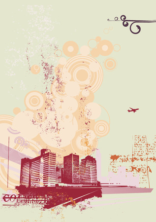 Urban retro abstract background, made in grunge style. Vector illustration Vector