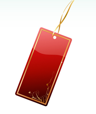 Vector illustration of shiny red price tag with floral decoration element Vector