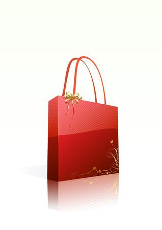 materialistic: Vector illustration di lucido shopping bag rosso con elemento di decorazione floreale