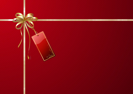 wrapping paper: Vector illustration of shiny gift wrapping with golden ribbon, bow and red empty tag