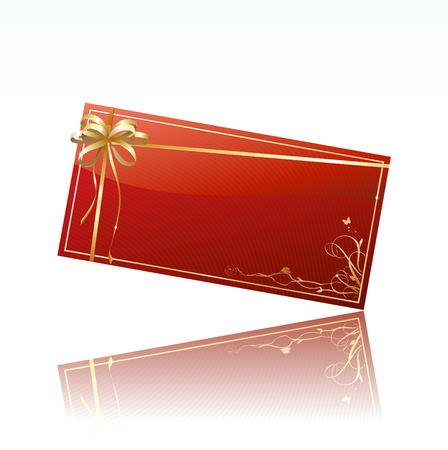 Vector illustration of red decorated gift card with golden ribbon and bow Vector